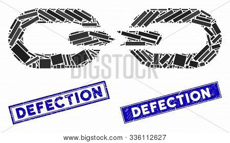 Mosaic Chain Break Icon And Rectangle Defection Stamps. Flat Vector Chain Break Mosaic Pictogram Of