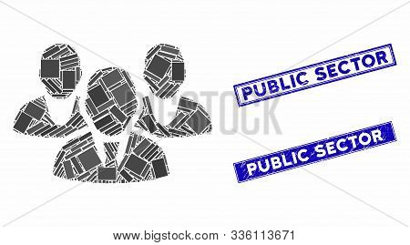 Mosaic Staff Icon And Rectangle Public Sector Seals. Flat Vector Staff Mosaic Icon Of Random Rotated
