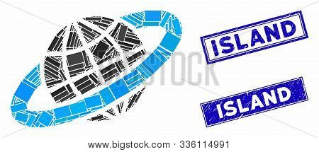 Mosaic Planetary Ring Icon And Rectangle Island Seals. Flat Vector Planetary Ring Mosaic Pictogram O