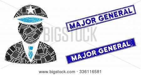 Mosaic Police Officer Icon And Rectangle Major General Seals. Flat Vector Police Officer Mosaic Icon