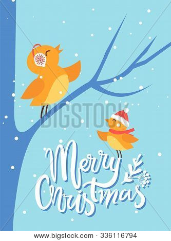 Merry Christmas Greeting Card With Birds Chirping. Bullfinch Sitting On Bare Tree Branch. Birdies We
