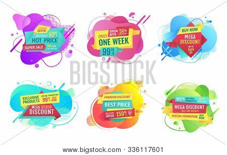 Set Of Banners With Sales Vector, Propositions Of Shops And Market, Best Offer And Sale, Ribbons Wit