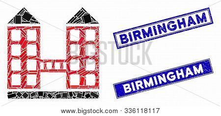 Mosaic Company Building Icon And Rectangle Birmingham Seal Stamps. Flat Vector Company Building Mosa