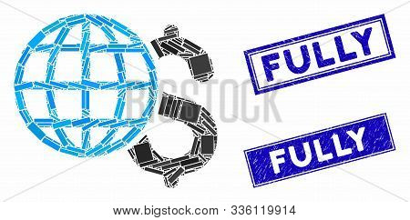 Mosaic Global Finances Pictogram And Rectangle Fully Rubber Prints. Flat Vector Global Finances Mosa