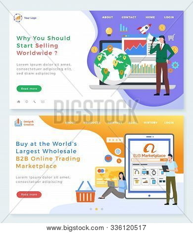 B2b Online Trading Platform Vector, Why You Should Start Selling Worldwide. Marketplace For Sellers