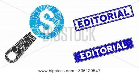 Mosaic Financial Audit Icon And Rectangular Editorial Stamps. Flat Vector Financial Audit Mosaic Pic