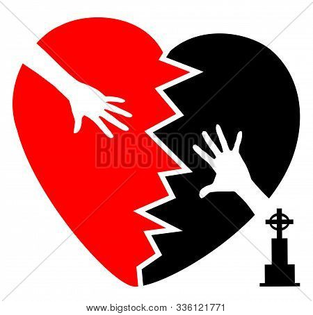Grieving After The Death Of A Loved One. Symbol Of The Broken Heart And Two Hands Who Cannot Reach E
