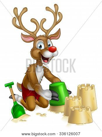Christmas Cartoon Of Santa Clauss Red Nosed Reindeer Playing On A Beach Making Sandcastles