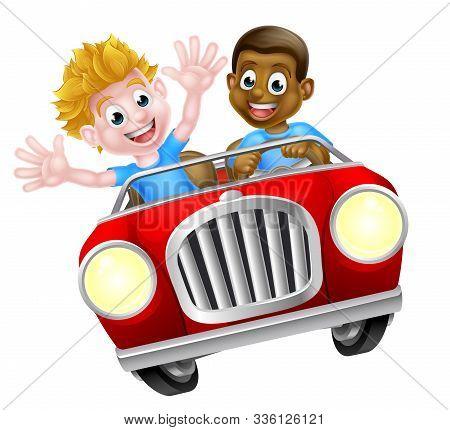 Cartoon Boys Driving Fast In A Car On A Road Trip