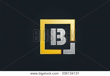 Gold Silver Metal Letter B Alphabet Logo Design Icon For Business. Suitable As A Logotype