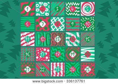 December Festive Advent Calendar Flat Vector Illustration