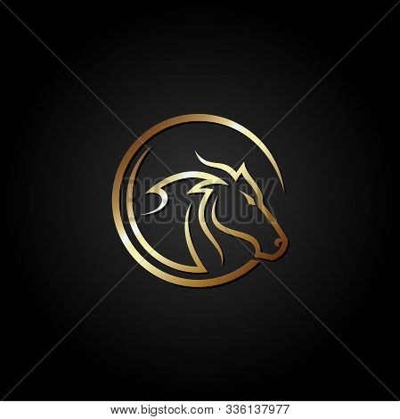 Horse Head Sign. Horse Head Icon. Horse Head Vector Logo Illustration Isolated On Black Background.