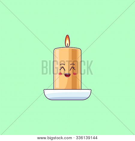 Cartoon Kawaii Wax Candle With Grinning Face. Cute Burning Candle In The Cup, Childish Character Wit