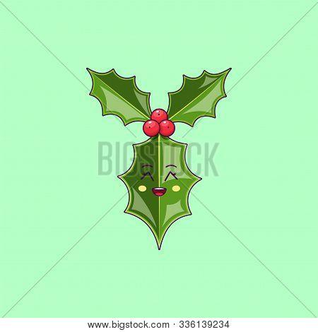 Cartoon Kawaii Holly Branch With Grinning Face. Cute Ilex Leaf For Christmas Celebration, Childish C