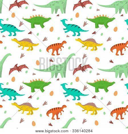 Pattern Of Cartoon Dinosaurs, Diplodocus, Stegosaurus, Pteranodon