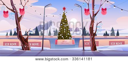 Christmas Ice Rink With Fir Tree Decorated With Illumination And Festive Baubles. Empty Public Place