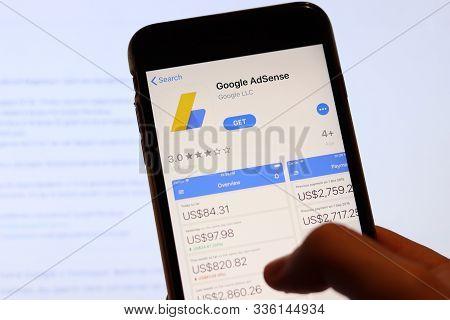 Los Angeles, California, Usa - 27 November 2019: Google Adsense App Icon On Mobile Phone Screen With