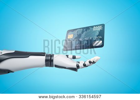 3d Rendering Of Robotic Hand With Plastic Bank Card On Blue Background