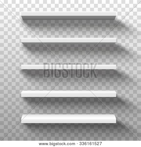 White Shop Product Shelves. Blank Empty Showcase Display, 3d Supermarket Retail Shelves.bookcase Sto