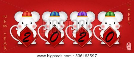 2020 Chinese New Year Of Cute Cartoon Mouse Holding Spring Couplet. Chinese Translation : New Year.