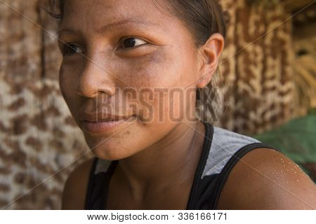 Manaus, Amazonas, Brazil - August 16, 2016: Indigenous Young Woman From Dessana Village, A Touristic