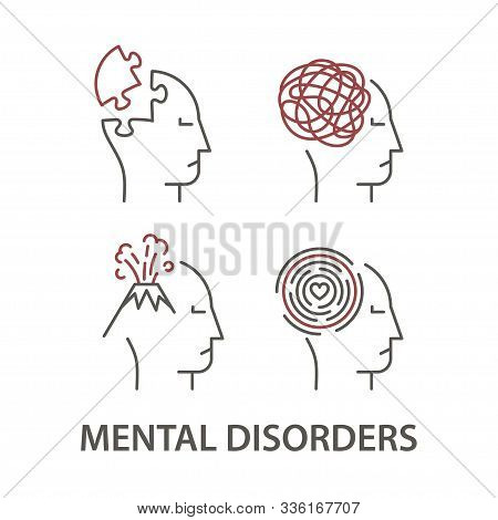 Set Of Icons For Mental Disorders. Tangled Tangle Untangled And Volcano, Hopeless Maze And Dementia