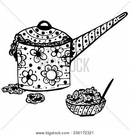 Doodle Vector Illustration Of Pan And Bowl With Porridge. Porridge Ran Away From Pan. Funny Cartoon