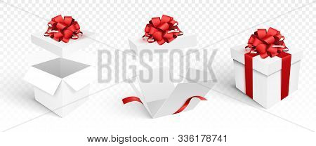 Set Of Gift Boxes Isolated On White Background. Vector Template Of Christmas Decoration Elements. Op