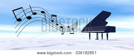 Classical Black Grand Piano Playing Melody In The Winter Nature - 3d Render