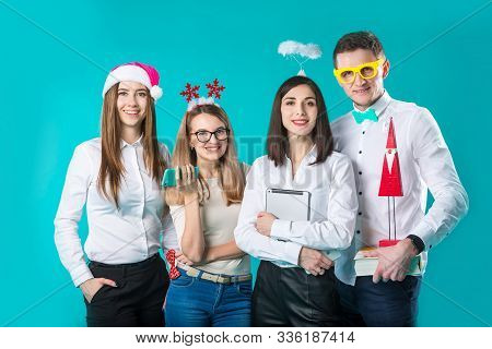 Business People Celebrating New Year Party And Christmas Celebration. Office Christmas Party. Group