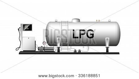 Automotive Modular Filling With Liquefied Gas. Large Cylindrical Cylinder With Natural Gas. Liquefie