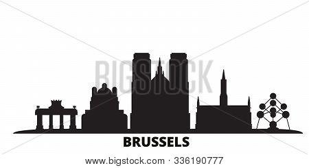 Belgium, Brussels City Skyline Isolated Vector Illustration. Belgium, Brussels Travel Black Cityscap