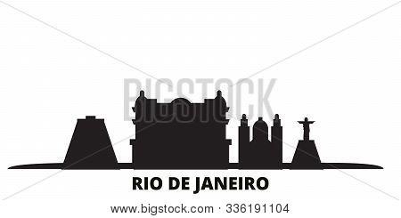 Brazil, Rio De Janeiro City Skyline Isolated Vector Illustration. Brazil, Rio De Janeiro Travel Blac
