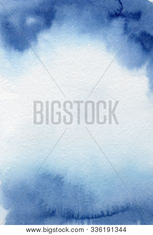 Watercolor Blue Abstract Texture Hand Drawn Backgriund