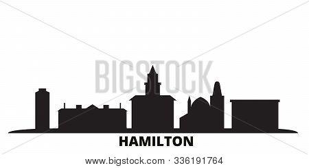 Canada, Hamilton City Skyline Isolated Vector Illustration. Canada, Hamilton Travel Black Cityscape