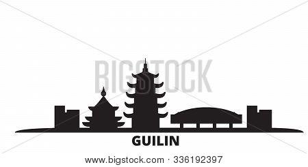 China, Guilin City Skyline Isolated Vector Illustration. China, Guilin Travel Black Cityscape