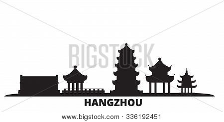 China, Hangzhou City Skyline Isolated Vector Illustration. China, Hangzhou Travel Black Cityscape