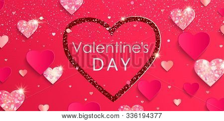 Valentines Day Banner With Paper Shiny Glitter Hearts. .pink Abstract Background With Shimer Hearts