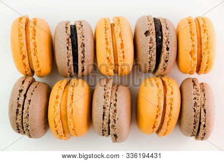 Macaroons On White Background Top, Colorful Macaroons, Selective Focus
