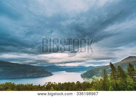 Utvik, Sogn Og Fjordane County, Norway. Norwegian Mountain Lake Landscape. The Innvikfjord Is A Sub-