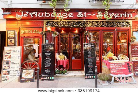 Paris, France-november 17, 2019 : The Traditional French Restaurant Auberge St. Severin Located Near