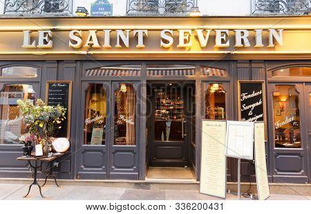 Paris, France-november 17, 2019 : The Traditional French Restaurant Saint Severin Located Near Saint