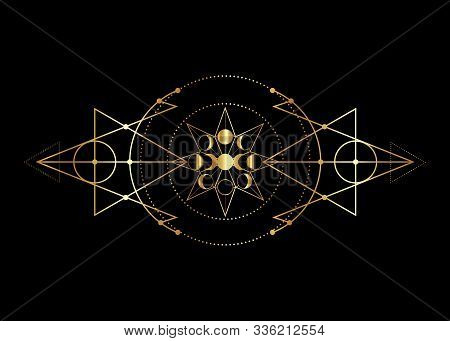 Phases Of The Moon And Triple Moon. Golden Mystical Drawing, Energy Circles, Magic Triangles. Gold S
