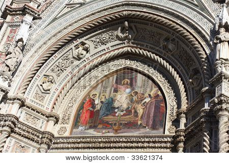 The mosaic tympanums on the facade of the Florence Cathedral