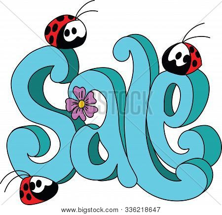 Cartoon Ladybugs Sitting On A Sale Text Vector Illustration