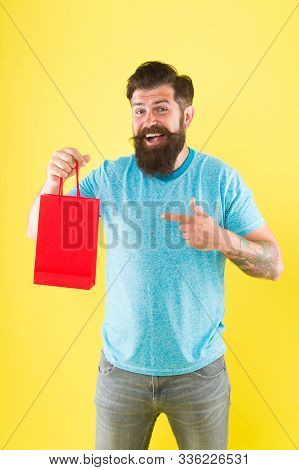 Goods For Men. Man With Package. Cyber Monday Concept. Little Pleasantness. Bearded Man Go Shopping.