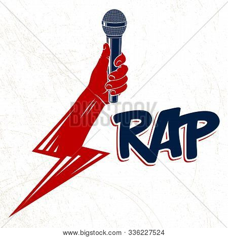 Rap Music Vector Logo Or Emblem With Microphone In Hand In A Shape Of Lightning Bolt, Hip Hop Rhymes