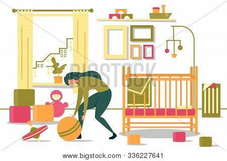 Cartoon Young Mother Cleaning Up Child Bedroom Vector Illustration. Woman Pick Toys From Floor Tidyi