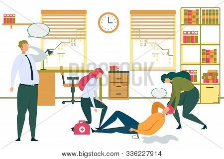 Cartoon Man Lying On Office Floor, Woman Worker Help. Businessman Call Ambulance Vector Illustration