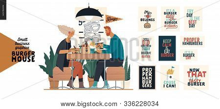 Burger House -small Business Graphics - Visitors -modern Flat Vector Concept Illustrations -young Co
